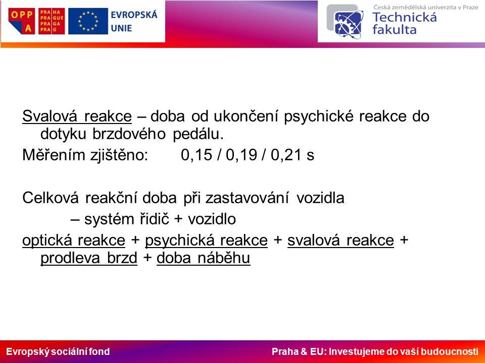 Evropský sociální fond Praha & EU: Investujeme do vaší budoucnosti Svalová reakce – doba od ukončení psychické reakce do dotyku brzdového pedálu.