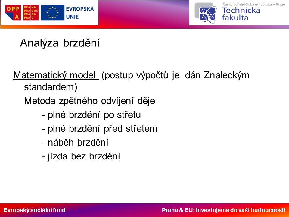 Evropský sociální fond Praha & EU: Investujeme do vaší budoucnosti Analýza brzdění Matematický model (postup výpočtů je dán Znaleckým standardem) Metoda zpětného odvíjení děje - plné brzdění po střetu - plné brzdění před střetem - náběh brzdění - jízda bez brzdění