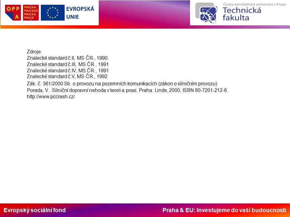 Evropský sociální fond Praha & EU: Investujeme do vaší budoucnosti Zdroje: Znalecké standard č.II, MS ČR., 1990.