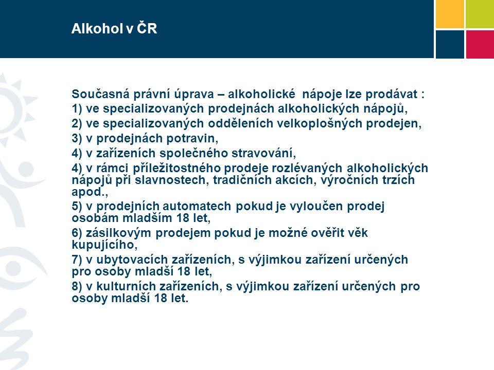 Alkohol v ČR Současná právní úprava – alkoholické nápoje lze prodávat : 1) ve specializovaných prodejnách alkoholických nápojů, 2) ve specializovaných odděleních velkoplošných prodejen, 3) v prodejnách potravin, 4) v zařízeních společného stravování, 4) v rámci příležitostného prodeje rozlévaných alkoholických nápojů při slavnostech, tradičních akcích, výročních trzích apod., 5) v prodejních automatech pokud je vyloučen prodej osobám mladším 18 let, 6) zásilkovým prodejem pokud je možné ověřit věk kupujícího, 7) v ubytovacích zařízeních, s výjimkou zařízení určených pro osoby mladší 18 let, 8) v kulturních zařízeních, s výjimkou zařízení určených pro osoby mladší 18 let.