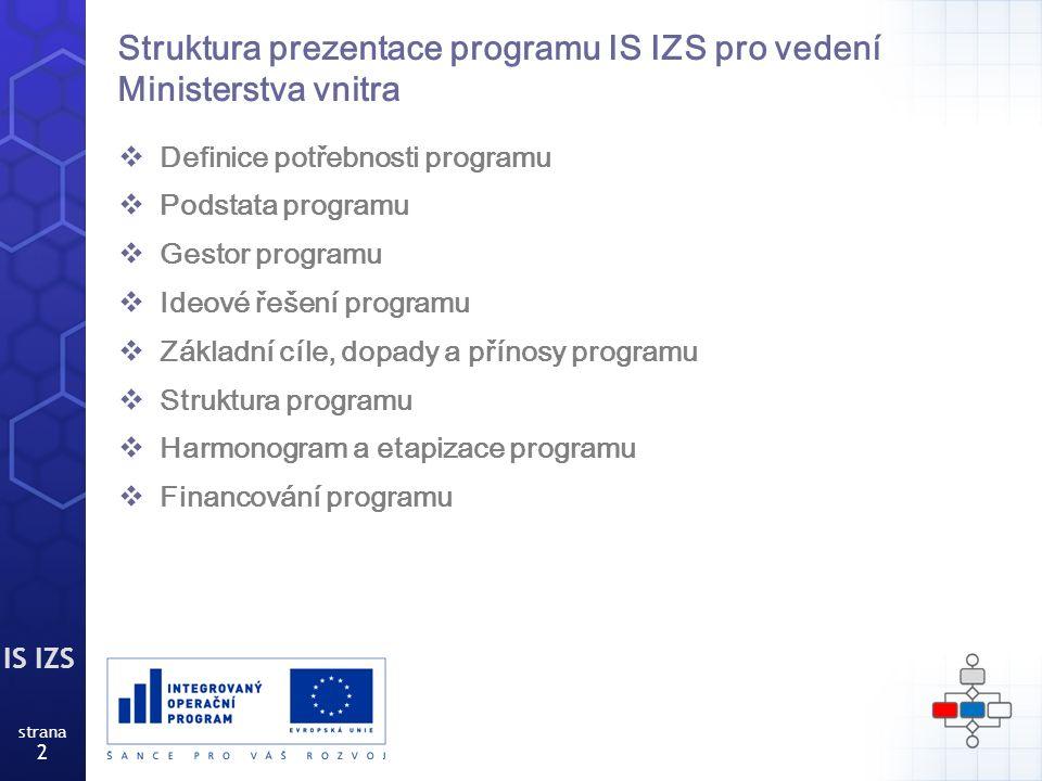 IS IZS strana 13 Řídící a organizační struktura programu IS IZS Strategické rozhodování Sdružuje klíčové projekty MV stejného programu Řeší významné změny programu Hodnotí program (zpravidla měsíčně) Provádění programu Dílčí a ad hoc týmy Realizují konkrétní výstupy projektů (dle potřeby, i denně) Konzistence programu Řídí a koordinuje chod programu Zajišťuje jeho technickou podporu (zpravidla 2 x týdně) Koncepční rozhodování Prosazuje a koordinuje potřeby projektů do všech složek v rámci daného programu Kontroluje plnění úkolů HPT (zpravidla týdně) Rada pro koordinaci Hlavní projektový tým Dílčí tým HZS ČR Dílčí tým P ČR Dílčí tým ZZS R e po rt i n g ESKALACE Řídící výbor ESKALACE