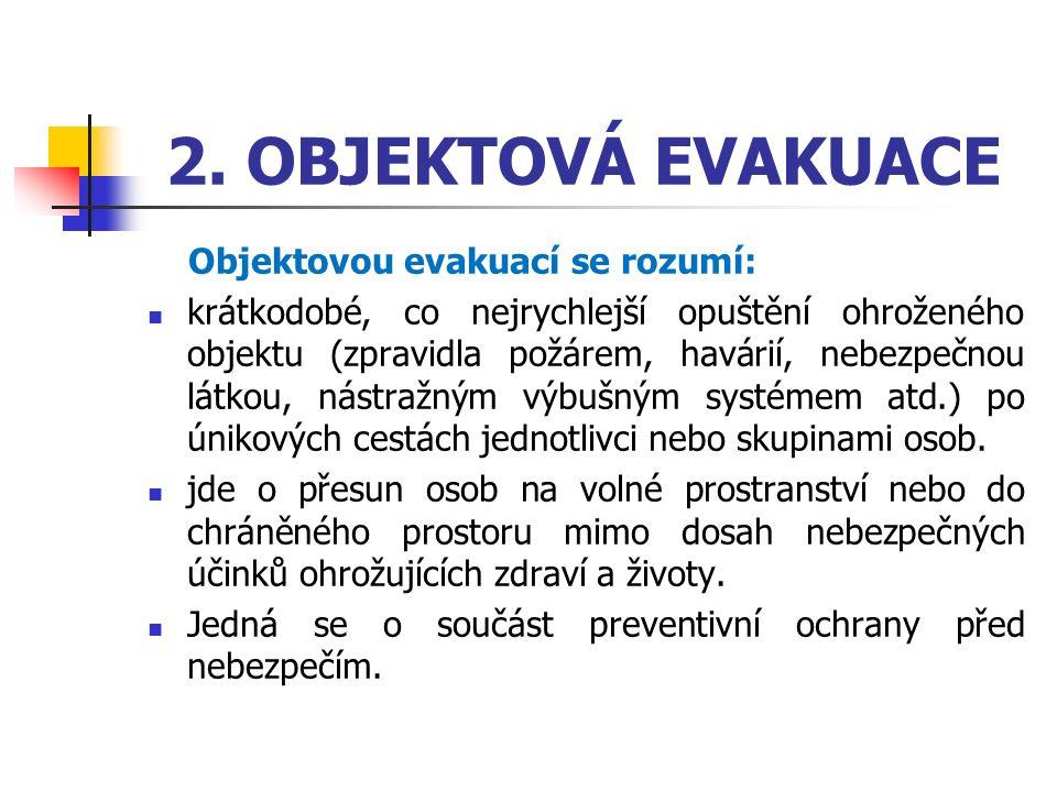 2. OBJEKTOVÁ EVAKUACE Objektovou evakuací se rozumí: krátkodobé, co nejrychlejší opuštění ohroženého objektu (zpravidla požárem, havárií, nebezpečnou