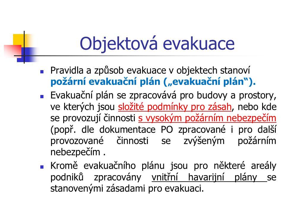 """Objektová evakuace Pravidla a způsob evakuace v objektech stanoví požární evakuační plán (""""evakuační plán )."""