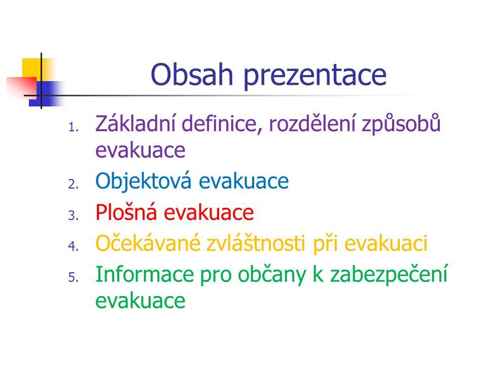 Obsah prezentace 1. Základní definice, rozdělení způsobů evakuace 2.