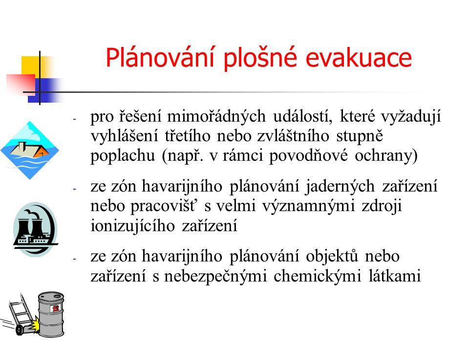 Plánování plošné evakuace - pro řešení mimořádných událostí, které vyžadují vyhlášení třetího nebo zvláštního stupně poplachu (např.