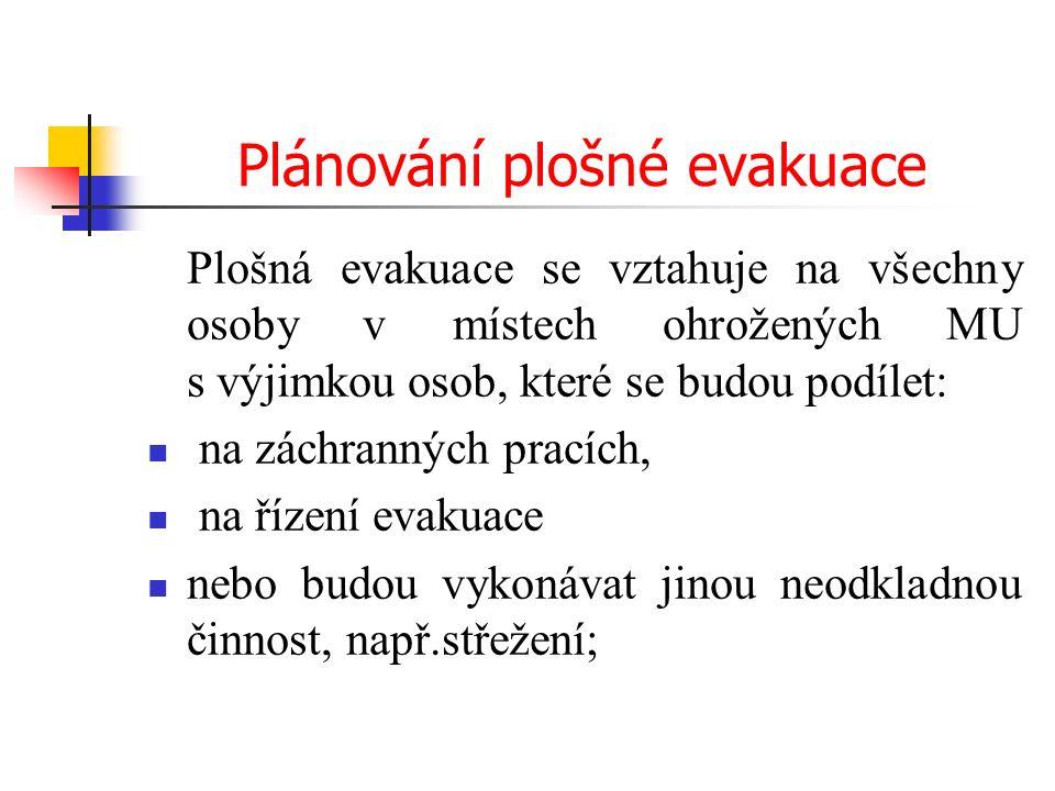 Plánování plošné evakuace Plošná evakuace se vztahuje na všechny osoby v místech ohrožených MU s výjimkou osob, které se budou podílet: na záchranných pracích, na řízení evakuace nebo budou vykonávat jinou neodkladnou činnost, např.střežení;