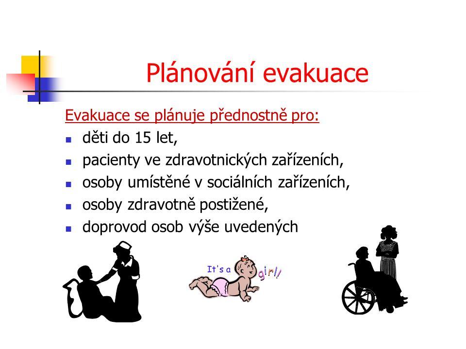 Plánování evakuace Evakuace se plánuje přednostně pro: děti do 15 let, pacienty ve zdravotnických zařízeních, osoby umístěné v sociálních zařízeních, osoby zdravotně postižené, doprovod osob výše uvedených