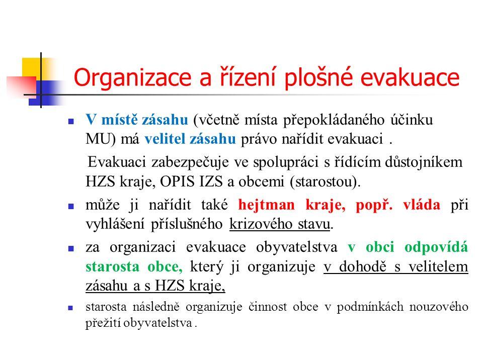 Organizace a řízení plošné evakuace V místě zásahu (včetně místa přepokládaného účinku MU) má velitel zásahu právo nařídit evakuaci.