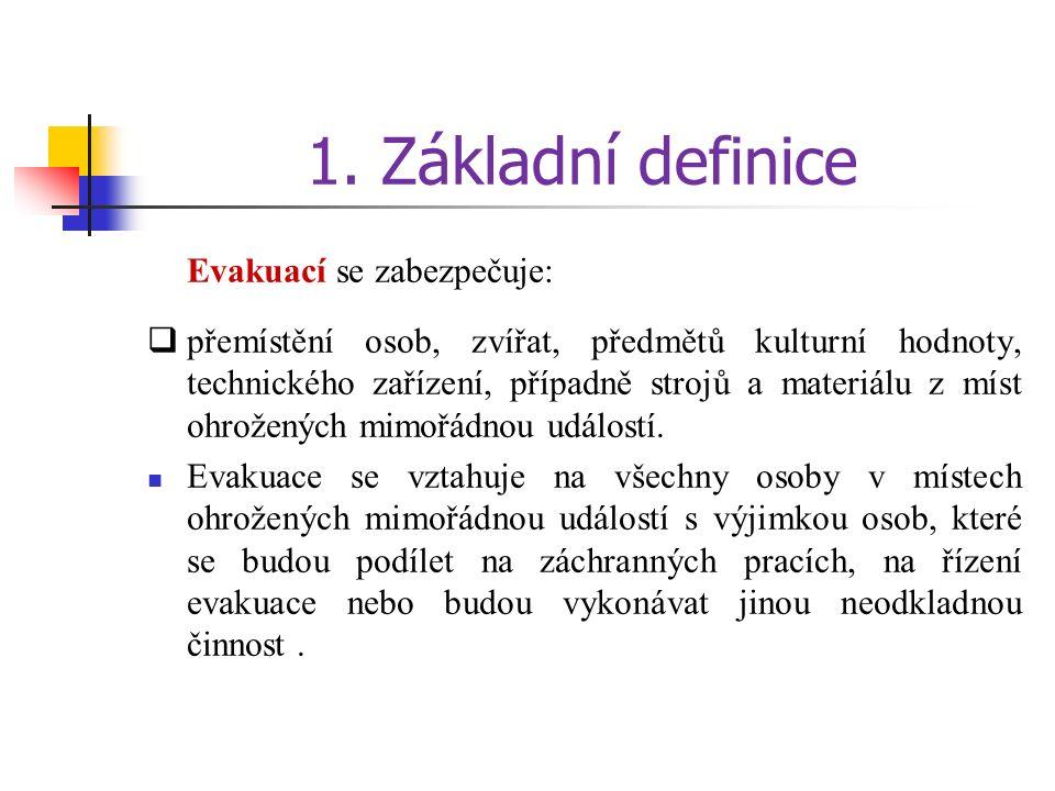 1. Základní definice Evakuací se zabezpečuje:  přemístění osob, zvířat, předmětů kulturní hodnoty, technického zařízení, případně strojů a materiálu