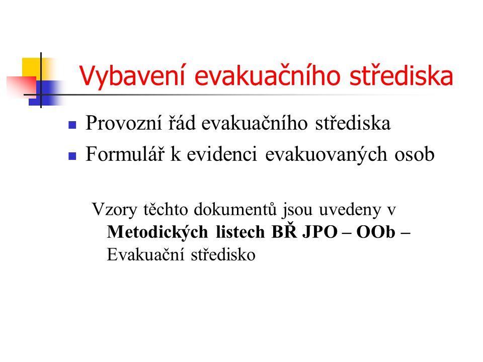 Vybavení evakuačního střediska Provozní řád evakuačního střediska Formulář k evidenci evakuovaných osob Vzory těchto dokumentů jsou uvedeny v Metodických listech BŘ JPO – OOb – Evakuační středisko