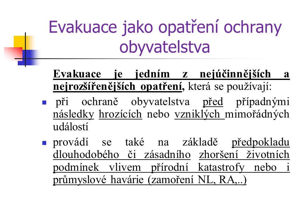 Rozdělení evakuace Z hlediska rozsahu opatření na: - objektová - plošná Podle doby trvání: - krátkodobá - dlouhodobá Podle způsobu řízení: - samovolná - řízená