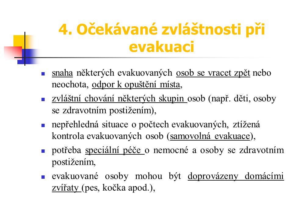 4. Očekávané zvláštnosti při evakuaci snaha některých evakuovaných osob se vracet zpět nebo neochota, odpor k opuštění místa, zvláštní chování některý
