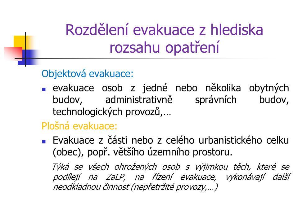 Rozdělení evakuace z hlediska rozsahu opatření Objektová evakuace: evakuace osob z jedné nebo několika obytných budov, administrativně správních budov, technologických provozů,… Plošná evakuace: Evakuace z části nebo z celého urbanistického celku (obec), popř.