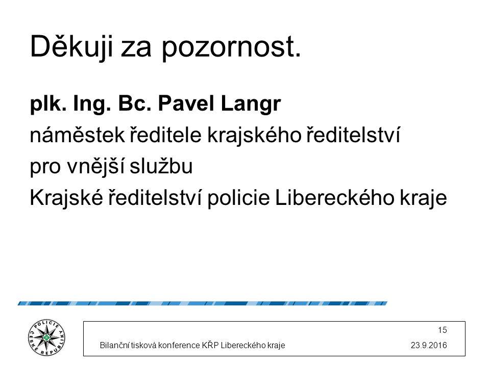 23.9.2016Bilanční tisková konference KŘP Libereckého kraje 15 Děkuji za pozornost.