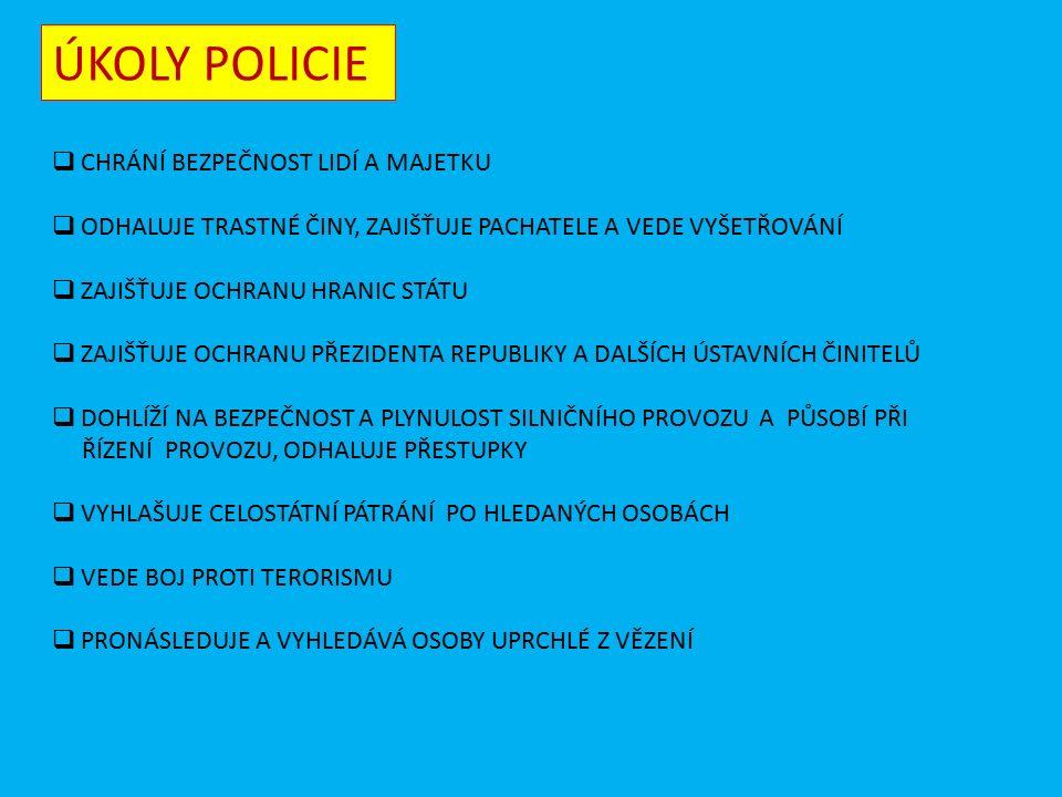 """POLICIE  JE OZBROJENÝ BEZPEČNOSTNÍ SBOR ČR  PŮSOBÍ NA ÚZEMÍ CELÉHO STÁTU  SLOUŽÍ ŘÁDNÝM OBČANŮM, KTEŘÍ DODRŽUJÍ ZÁKONY A ZASAHUJE PROTI TĚM, KTEŘÍ JE PORUŠUJÍ 1 5 8 """" POMÁHAT A CHRÁNIT VÍTĚ, KDE SÍDLÍ VE VAŠEM MĚSTĚ POLICIE"""