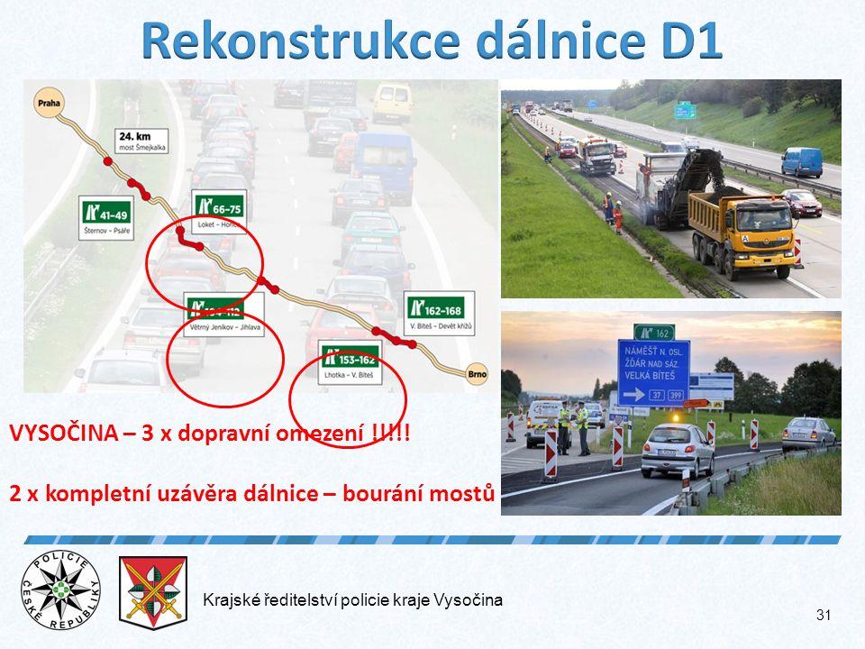 Krajské ředitelství policie kraje Vysočina 31 VYSOČINA – 3 x dopravní omezení !!!!.