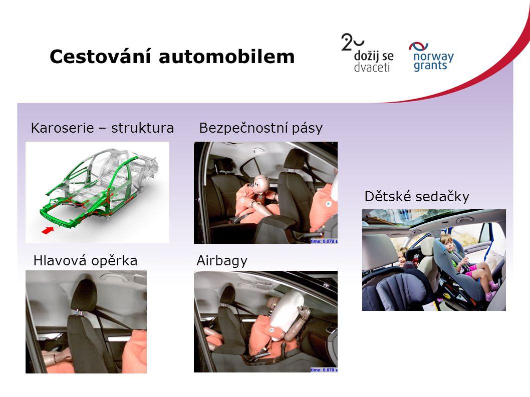 Cestování automobilem Karoserie – struktura Bezpečnostní pásy Hlavová opěrka Airbagy Dětské sedačky