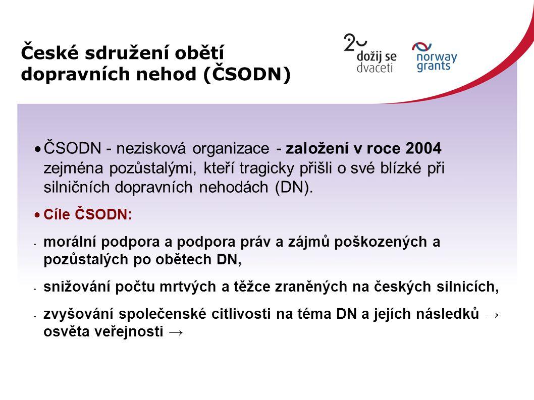 České sdružení obětí dopravních nehod (ČSODN)  ČSODN - nezisková organizace - založení v roce 2004 zejména pozůstalými, kteří tragicky přišli o své blízké při silničních dopravních nehodách (DN).