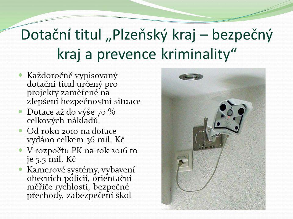 """Dotační titul """"Plzeňský kraj – bezpečný kraj a prevence kriminality Každoročně vypisovaný dotační titul určený pro projekty zaměřené na zlepšení bezpečnostní situace Dotace až do výše 70 % celkových nákladů Od roku 2010 na dotace vydáno celkem 36 mil."""