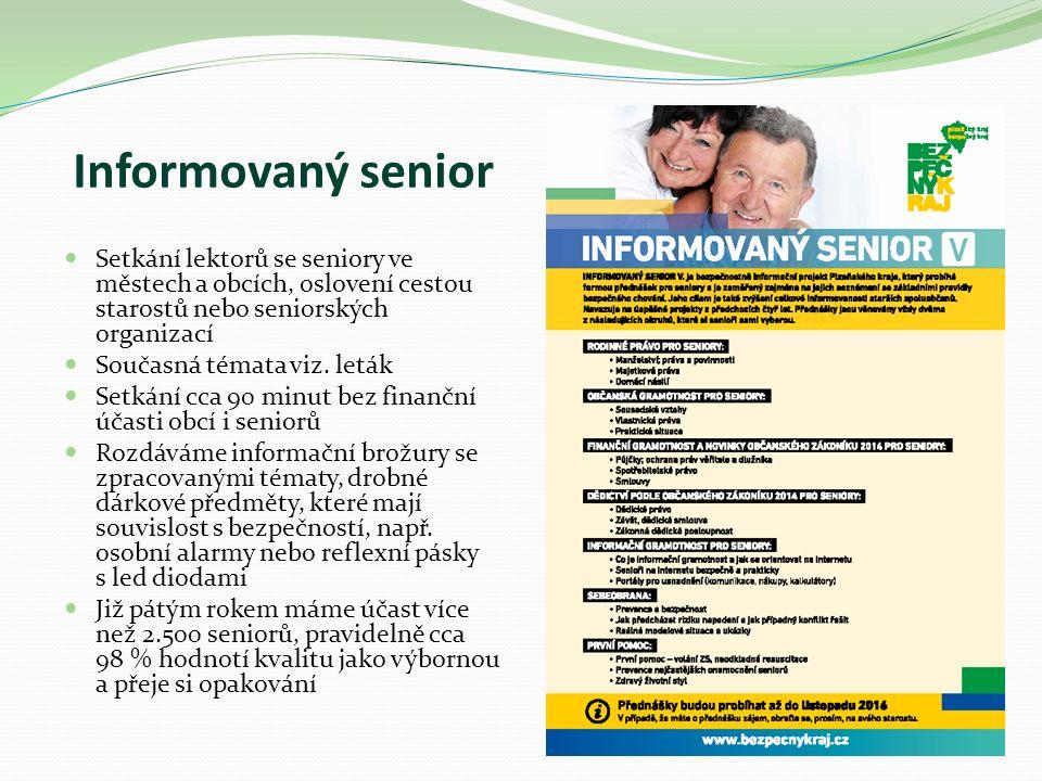Informovaný senior Setkání lektorů se seniory ve městech a obcích, oslovení cestou starostů nebo seniorských organizací Současná témata viz.