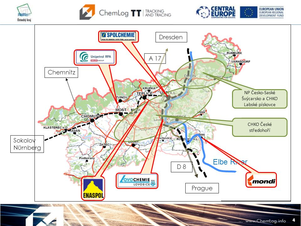 4 Dresden A 17 Sokolov Nürnberg Chemnitz L Elbe River Prague D 8 NP Česko-Saské Švýcarsko a CHKO Labské pískovce CHKO České středohoří