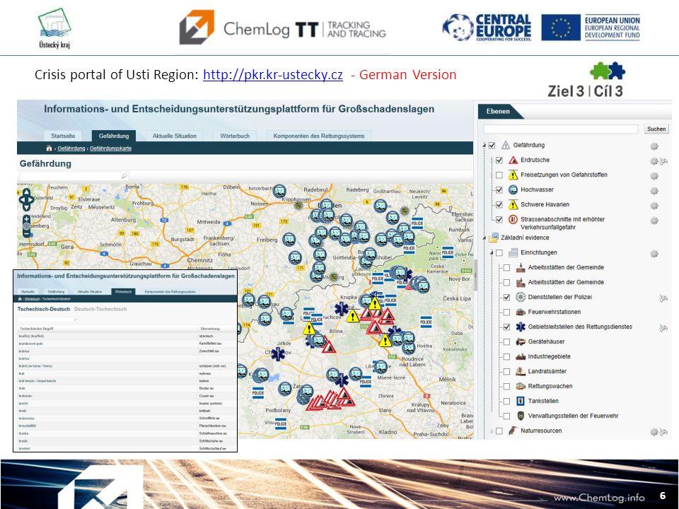 6 L Crisis portal of Usti Region: http://pkr.kr-ustecky.cz - German Versionhttp://pkr.kr-ustecky.cz