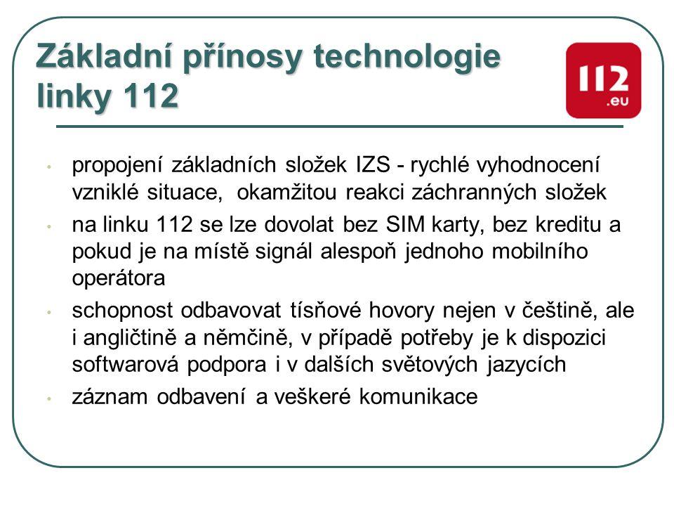 Základní přínosy technologie linky 112 propojení základních složek IZS - rychlé vyhodnocení vzniklé situace, okamžitou reakci záchranných složek na li