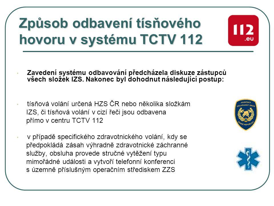 Způsob odbavení tísňového hovoru v systému TCTV 112 Zavedení systému odbavování předcházela diskuze zástupců všech složek IZS. Nakonec byl dohodnut ná