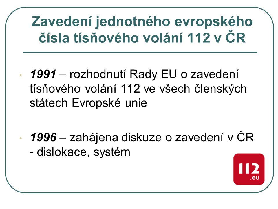 Zavedení jednotného evropského čísla tísňového volání 112 v ČR 1991 – rozhodnutí Rady EU o zavedení tísňového volání 112 ve všech členských státech Ev