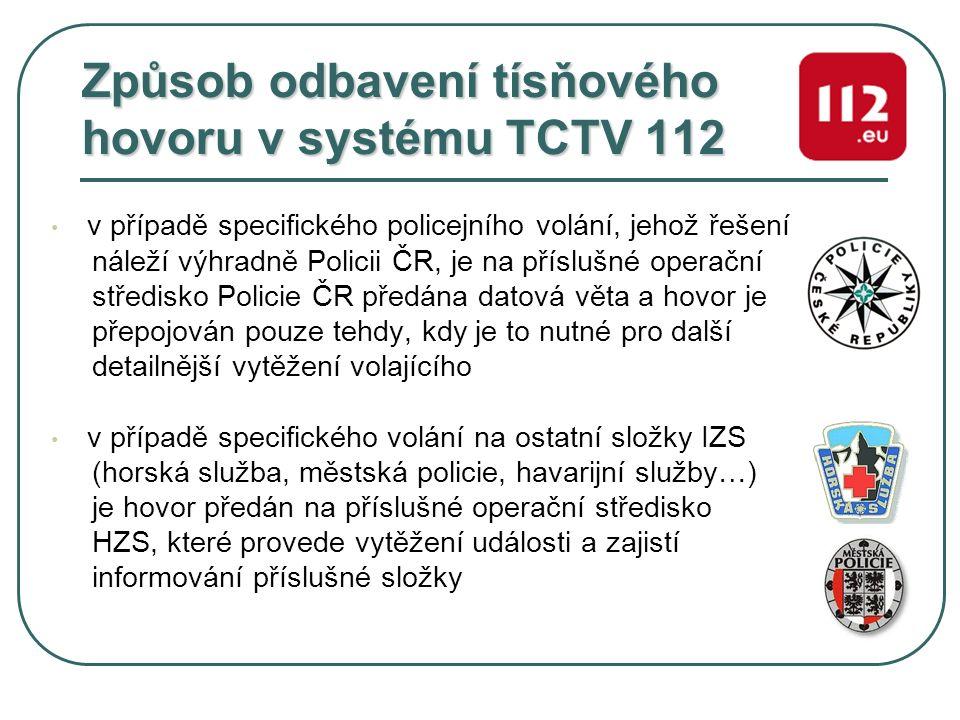 Způsob odbavení tísňového hovoru v systému TCTV 112 v případě specifického policejního volání, jehož řešení náleží výhradně Policii ČR, je na příslušn