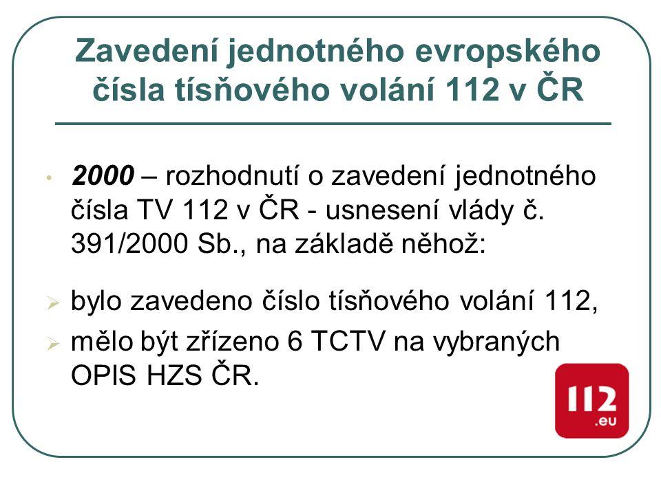 Zavedení jednotného evropského čísla tísňového volání 112 v ČR 2000 – rozhodnutí o zavedení jednotného čísla TV 112 v ČR - usnesení vlády č. 391/2000