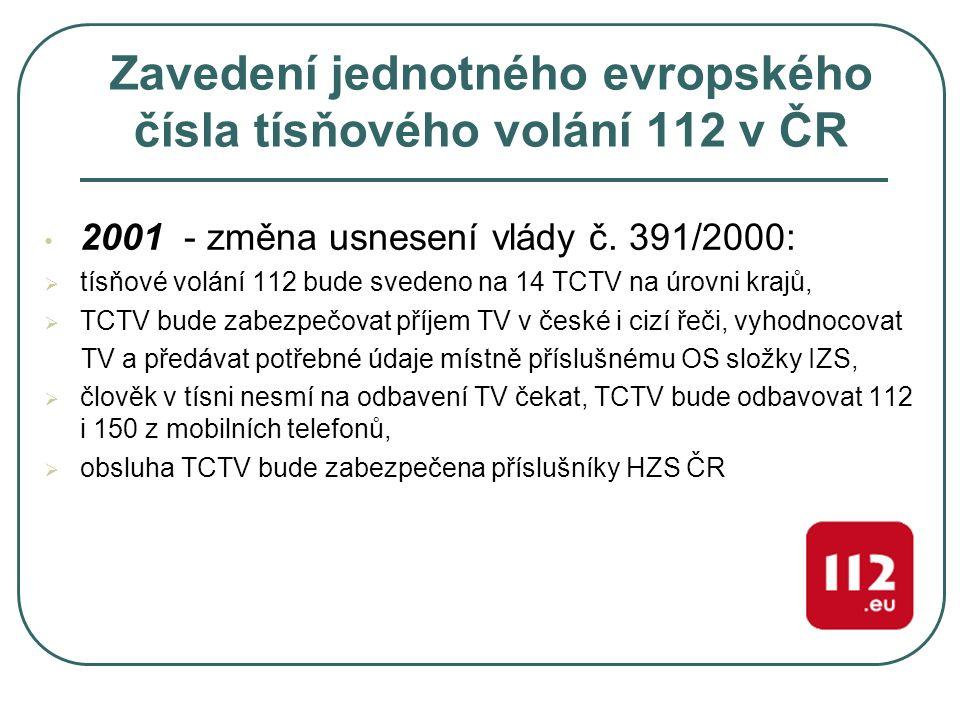 Zavedení jednotného evropského čísla tísňového volání 112 v ČR 2002 – podepsání smlouvy s Českým Telecomem na dodávku služby TCTV 112 2003 – zprovoznění čísla 112 ve všech telefonních sítích na území ČR (do tohoto data bylo funkční pouze v mobilních sítích)