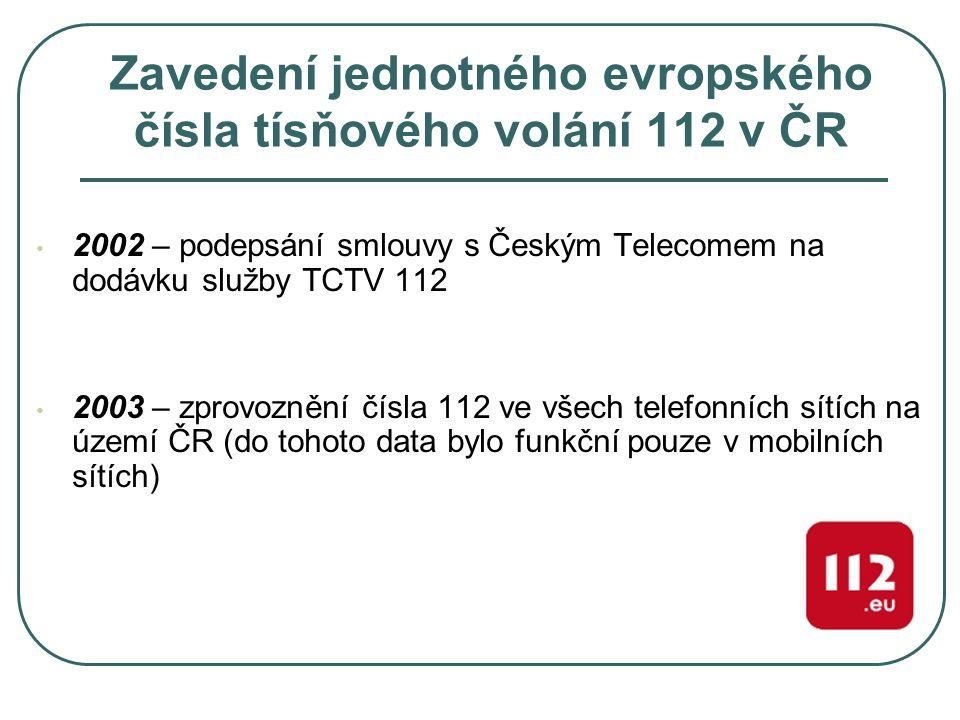Zavedení jednotného evropského čísla tísňového volání 112 v ČR 2002 – podepsání smlouvy s Českým Telecomem na dodávku služby TCTV 112 2003 – zprovozně