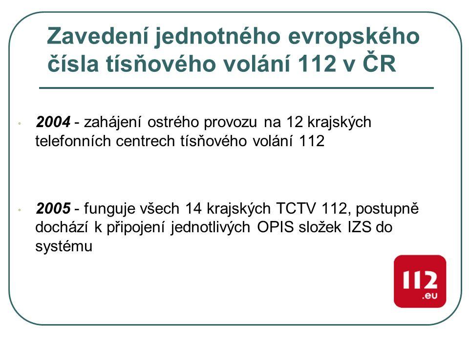Zavedení jednotného evropského čísla tísňového volání 112 v ČR 2004 - zahájení ostrého provozu na 12 krajských telefonních centrech tísňového volání 1