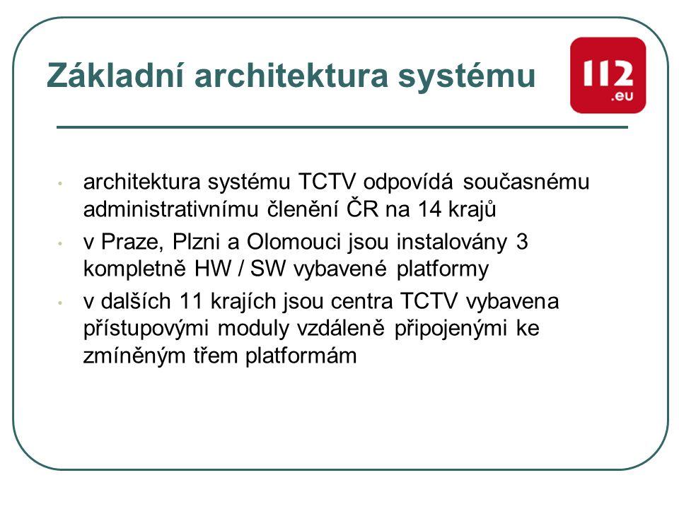 Základní architektura systému architektura systému TCTV odpovídá současnému administrativnímu členění ČR na 14 krajů v Praze, Plzni a Olomouci jsou in