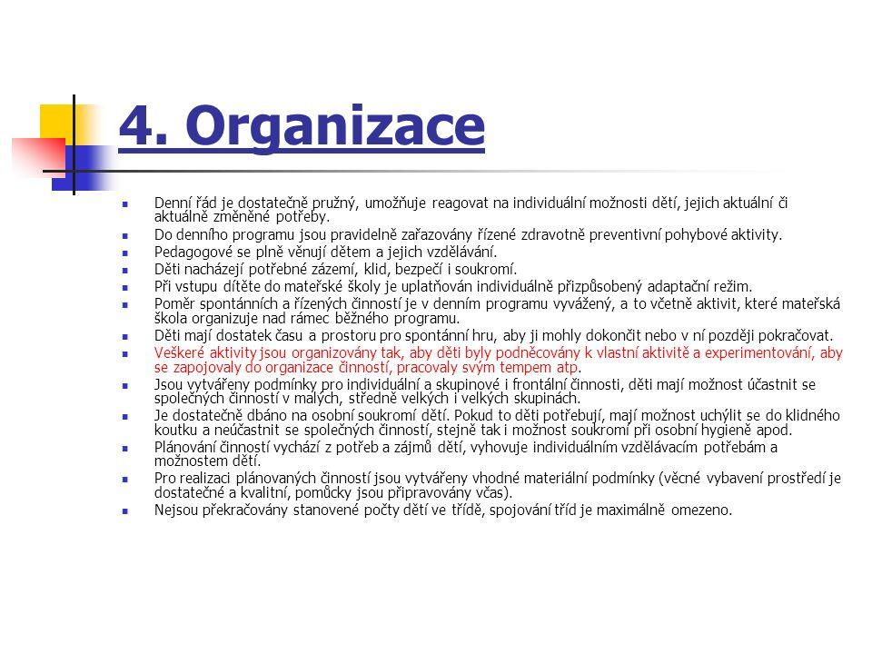 5.Řízení mateřské školy Povinnosti, pravomoci a úkoly všech pracovníků jsou jasně vymezeny.