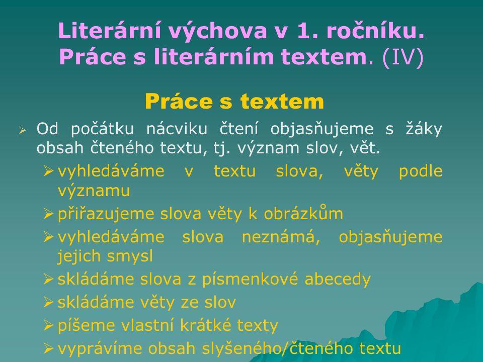 Literární výchova v 1. ročníku. Práce s literárním textem. (IV) Práce s textem   Od počátku nácviku čtení objasňujeme s žáky obsah čteného textu, tj