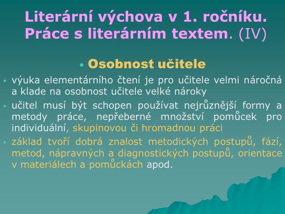 Literární výchova v 1. ročníku. Práce s literárním textem. (IV) Osobnost učitele výuka elementárního čtení je pro učitele velmi náročná a klade na oso