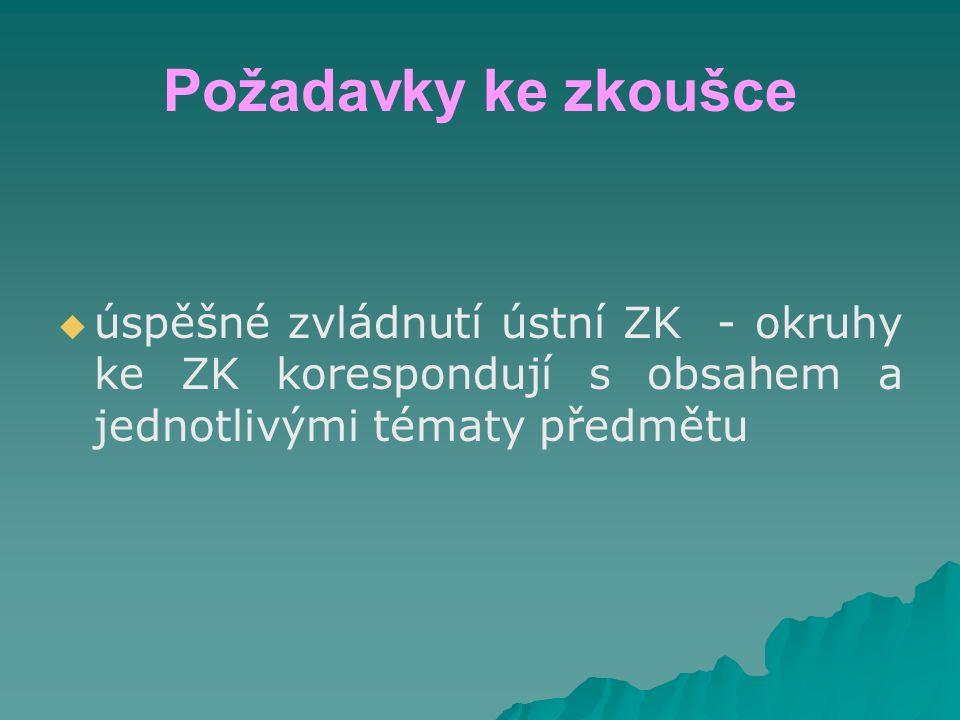 Požadavky ke zkoušce   úspěšné zvládnutí ústní ZK - okruhy ke ZK korespondují s obsahem a jednotlivými tématy předmětu