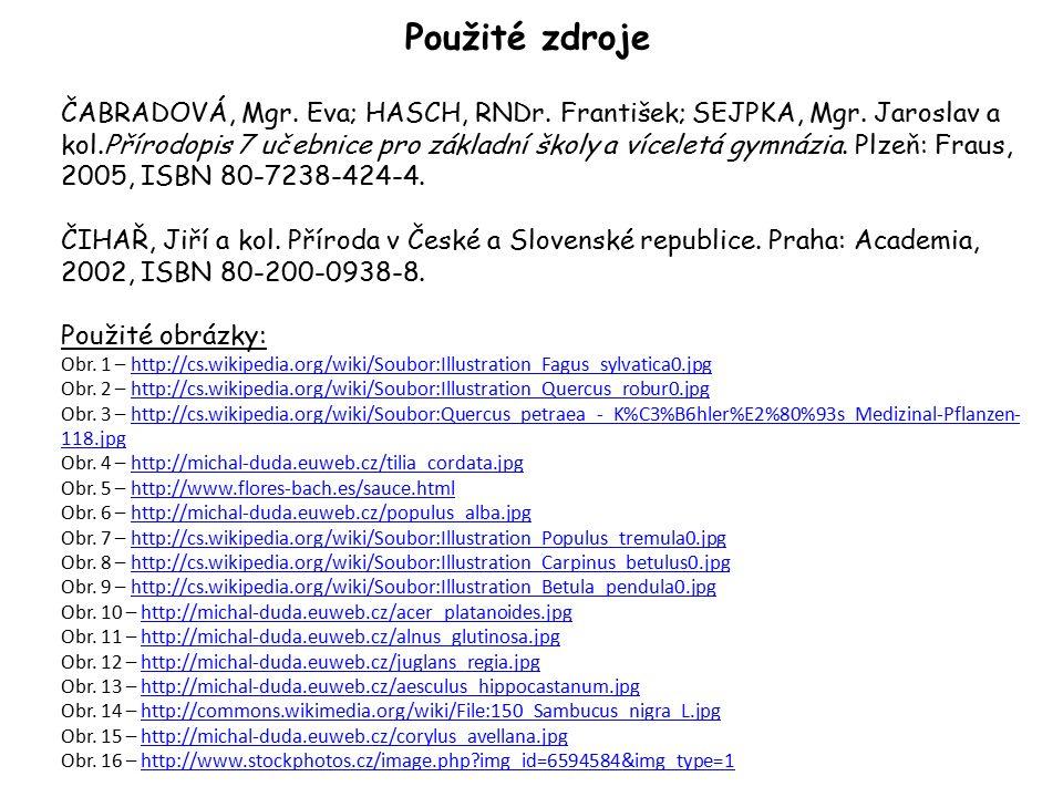 Použité zdroje ČABRADOVÁ, Mgr. Eva; HASCH, RNDr. František; SEJPKA, Mgr.