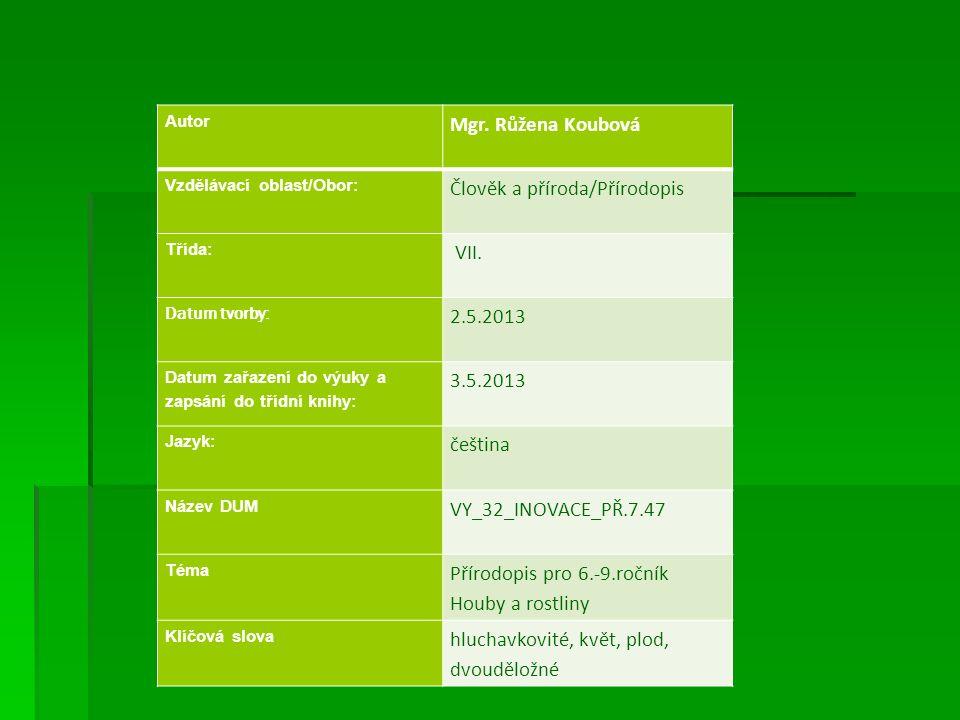 Autor Mgr. Růžena Koubová Vzdělávací oblast/Obor: Člověk a příroda/Přírodopis Třída: VII. Datum tvorby: 2.5.2013 Datum zařazení do výuky a zapsání do