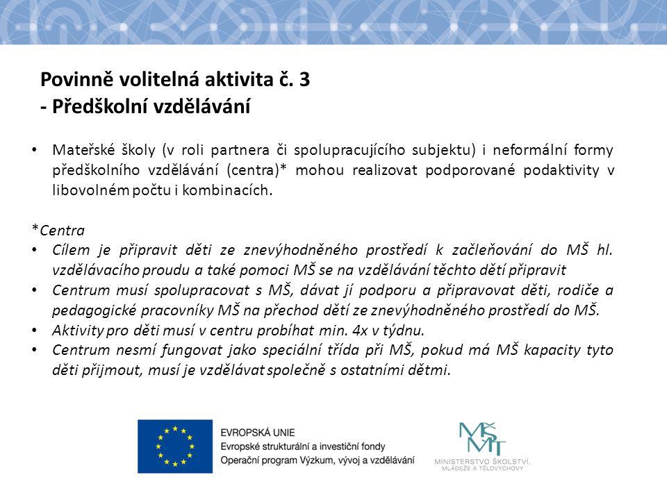 Povinně volitelná aktivita č. 3 - Předškolní vzdělávání Mateřské školy (v roli partnera či spolupracujícího subjektu) i neformální formy předškolního