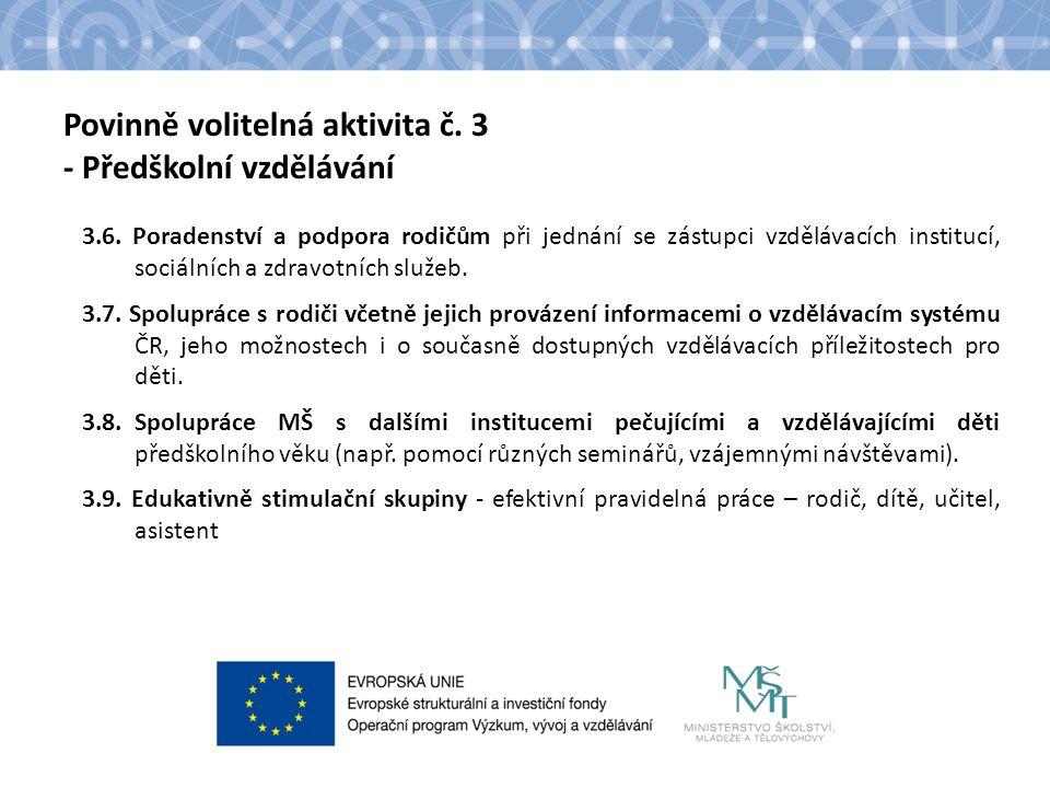 Povinně volitelná aktivita č. 3 - Předškolní vzdělávání 3.6. Poradenství a podpora rodičům při jednání se zástupci vzdělávacích institucí, sociálních