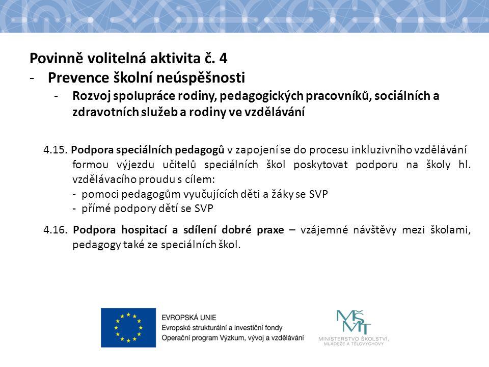 Povinně volitelná aktivita č. 4 -Prevence školní neúspěšnosti -Rozvoj spolupráce rodiny, pedagogických pracovníků, sociálních a zdravotních služeb a r