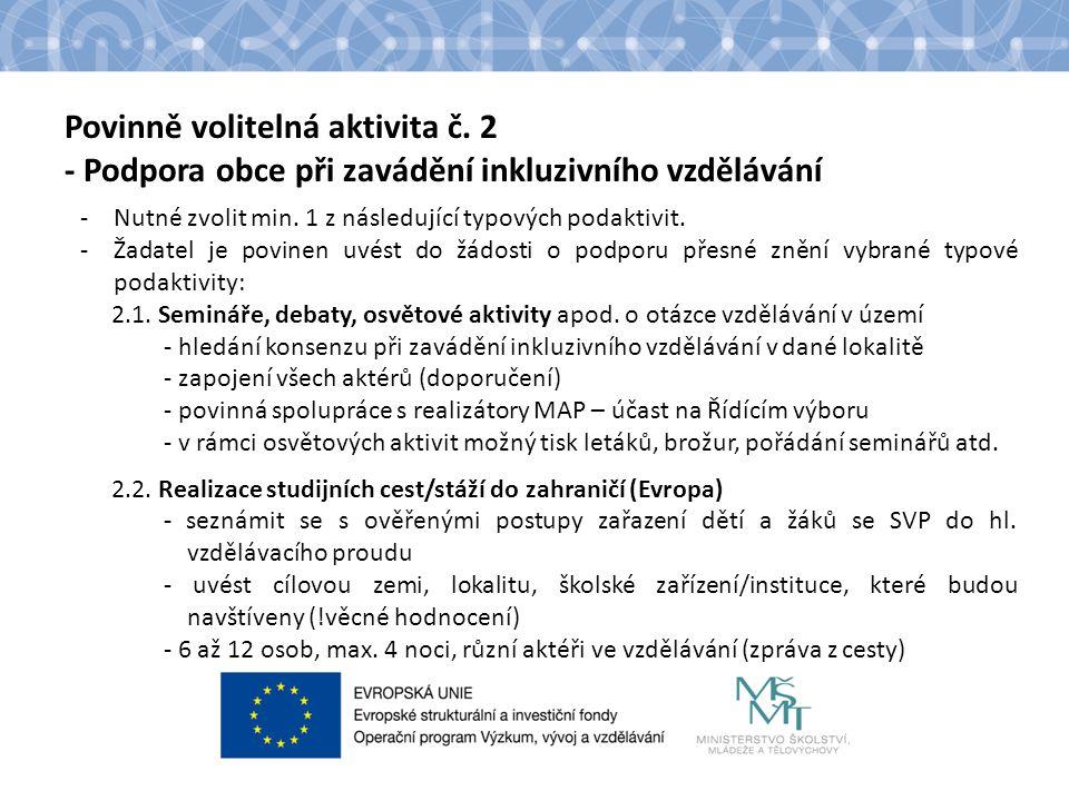 Povinně volitelná aktivita č. 2 - Podpora obce při zavádění inkluzivního vzdělávání -Nutné zvolit min. 1 z následující typových podaktivit. -Žadatel j