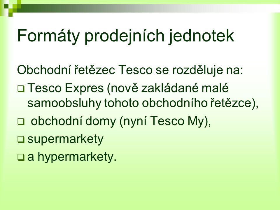 Formáty prodejních jednotek Obchodní řetězec Tesco se rozděluje na:  Tesco Expres (nově zakládané malé samoobsluhy tohoto obchodního řetězce),  obchodní domy (nyní Tesco My),  supermarkety  a hypermarkety.