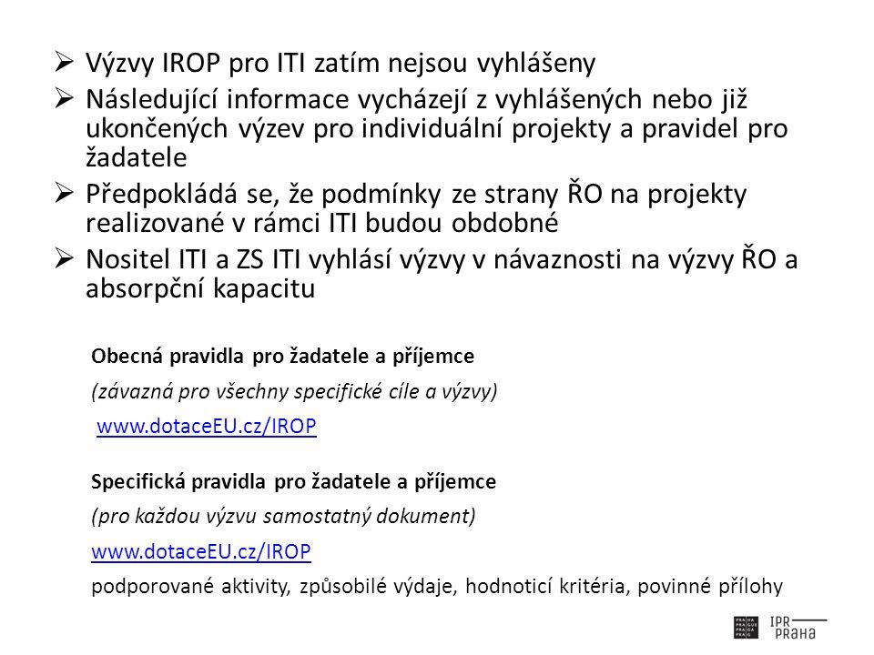  Výzvy IROP pro ITI zatím nejsou vyhlášeny  Následující informace vycházejí z vyhlášených nebo již ukončených výzev pro individuální projekty a pravidel pro žadatele  Předpokládá se, že podmínky ze strany ŘO na projekty realizované v rámci ITI budou obdobné  Nositel ITI a ZS ITI vyhlásí výzvy v návaznosti na výzvy ŘO a absorpční kapacitu Obecná pravidla pro žadatele a příjemce (závazná pro všechny specifické cíle a výzvy) www.dotaceEU.cz/IROP Specifická pravidla pro žadatele a příjemce (pro každou výzvu samostatný dokument) www.dotaceEU.cz/IROP podporované aktivity, způsobilé výdaje, hodnoticí kritéria, povinné přílohy