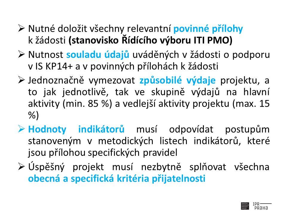  Nutné doložit všechny relevantní povinné přílohy k žádosti (stanovisko Řídícího výboru ITI PMO)  Nutnost souladu údajů uváděných v žádosti o podporu v IS KP14+ a v povinných přílohách k žádosti  Jednoznačně vymezovat způsobilé výdaje projektu, a to jak jednotlivě, tak ve skupině výdajů na hlavní aktivity (min.