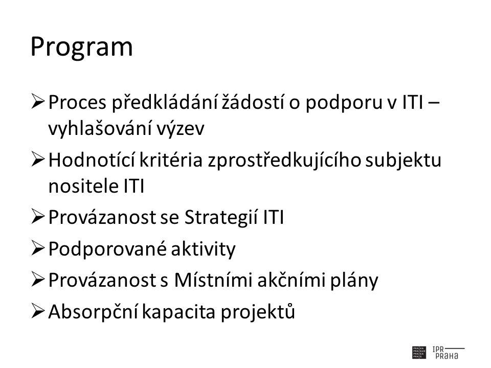 Program  Proces předkládání žádostí o podporu v ITI – vyhlašování výzev  Hodnotící kritéria zprostředkujícího subjektu nositele ITI  Provázanost se Strategií ITI  Podporované aktivity  Provázanost s Místními akčními plány  Absorpční kapacita projektů