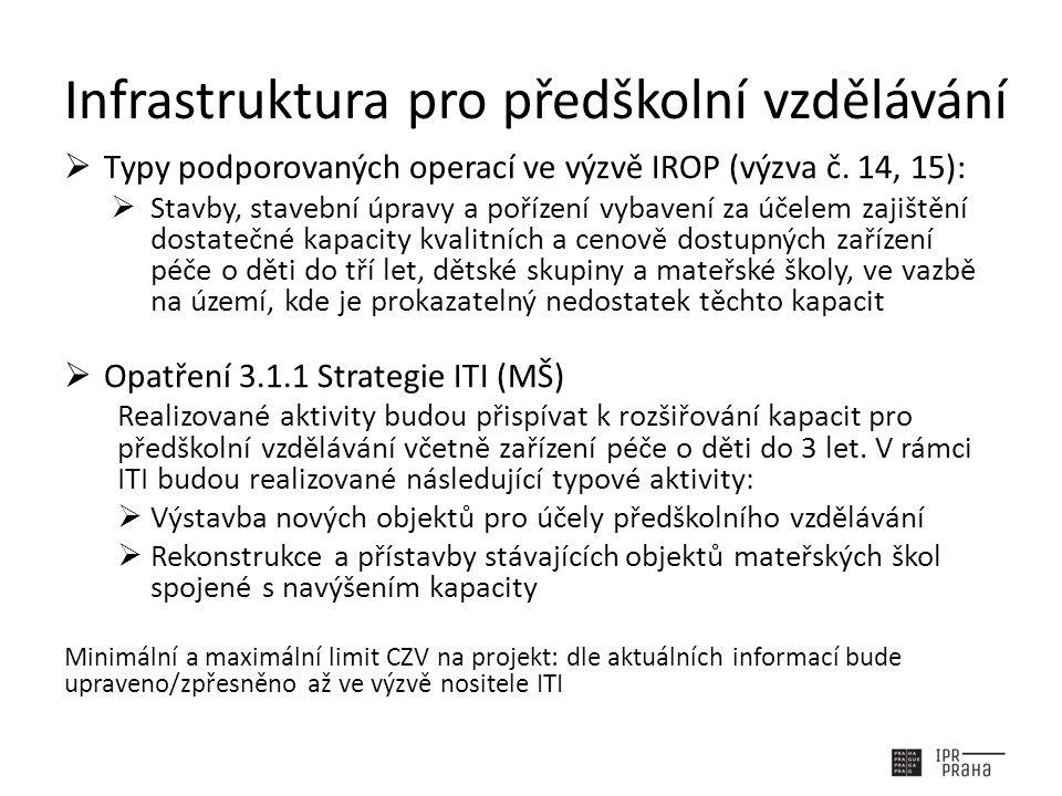 Infrastruktura pro předškolní vzdělávání  Typy podporovaných operací ve výzvě IROP (výzva č.